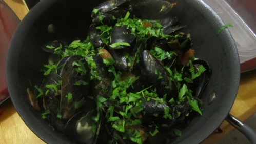 Old Bay Mussels with White Wine, Olive Oil, Fresh Tomatoes and Parsley
