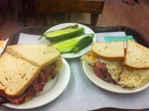 Pastrami, pickles and reuben.